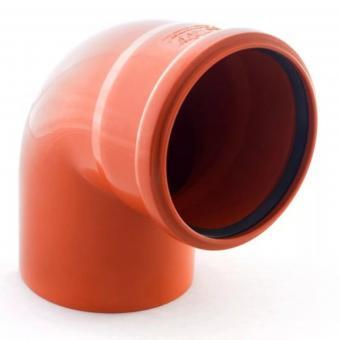 Соеденительное колено 90градусов на 110 трубу рыжее